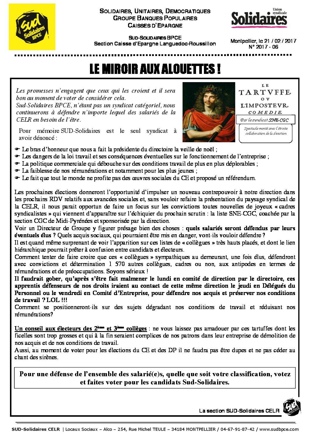 Celr le miroir aux alouettes sud solidaires bpce for Miroir aux alouettes